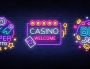 Casino set of s in neon style. Design template. Neon sign collection, light banner, billboard, bright light advertising gambling, casino, poker, slot machines, bingo lotto. Vector illustration