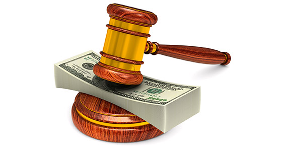 wooden gavel and money on white background. Isolated 3D illustration